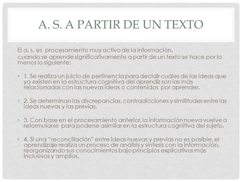 A. S. A partir de un texto El a. s. es procesamiento muy activo de la información.