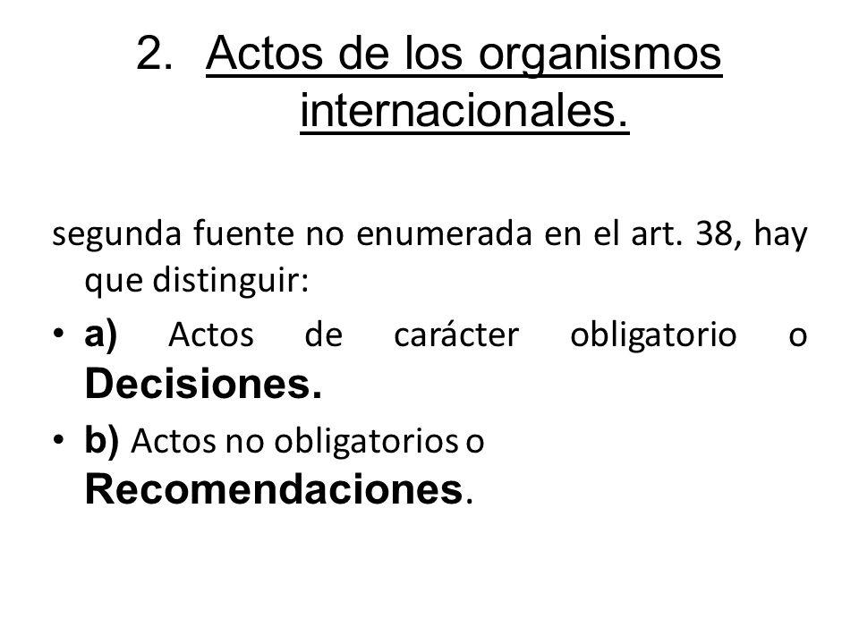 Actos de los organismos internacionales.