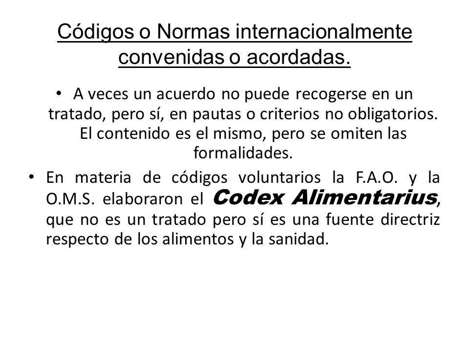 Códigos o Normas internacionalmente convenidas o acordadas.