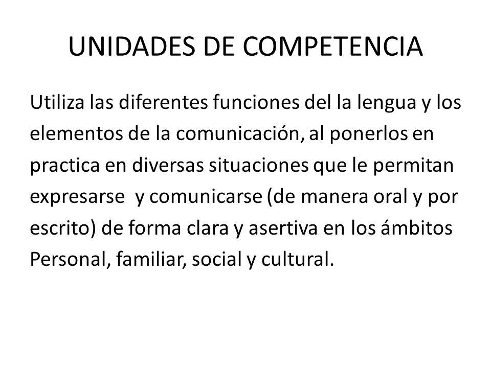 UNIDADES DE COMPETENCIA
