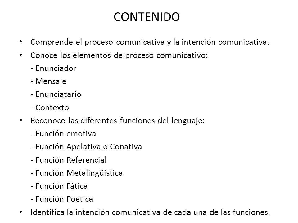 CONTENIDO Comprende el proceso comunicativa y la intención comunicativa. Conoce los elementos de proceso comunicativo:
