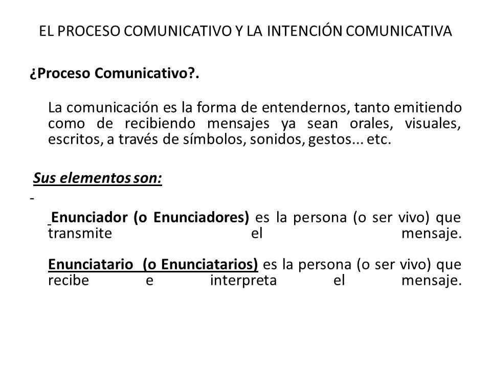 EL PROCESO COMUNICATIVO Y LA INTENCIÓN COMUNICATIVA