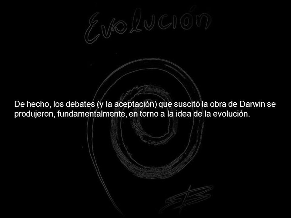 De hecho, los debates (y la aceptación) que suscitó la obra de Darwin se produjeron, fundamentalmente, en torno a la idea de la evolución.