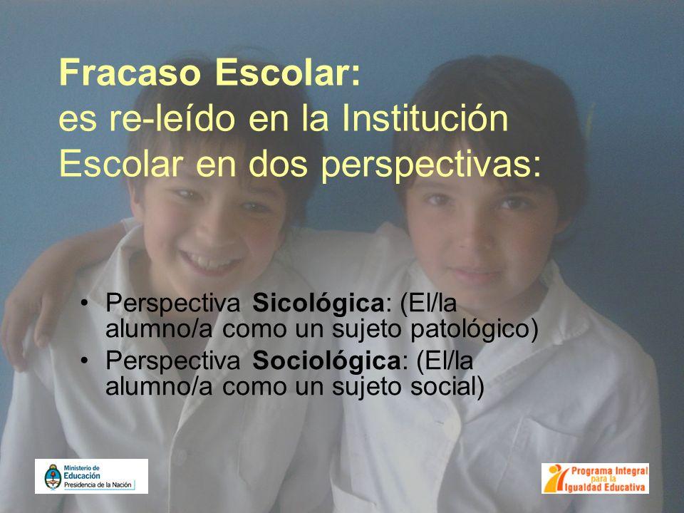Fracaso Escolar: es re-leído en la Institución Escolar en dos perspectivas: