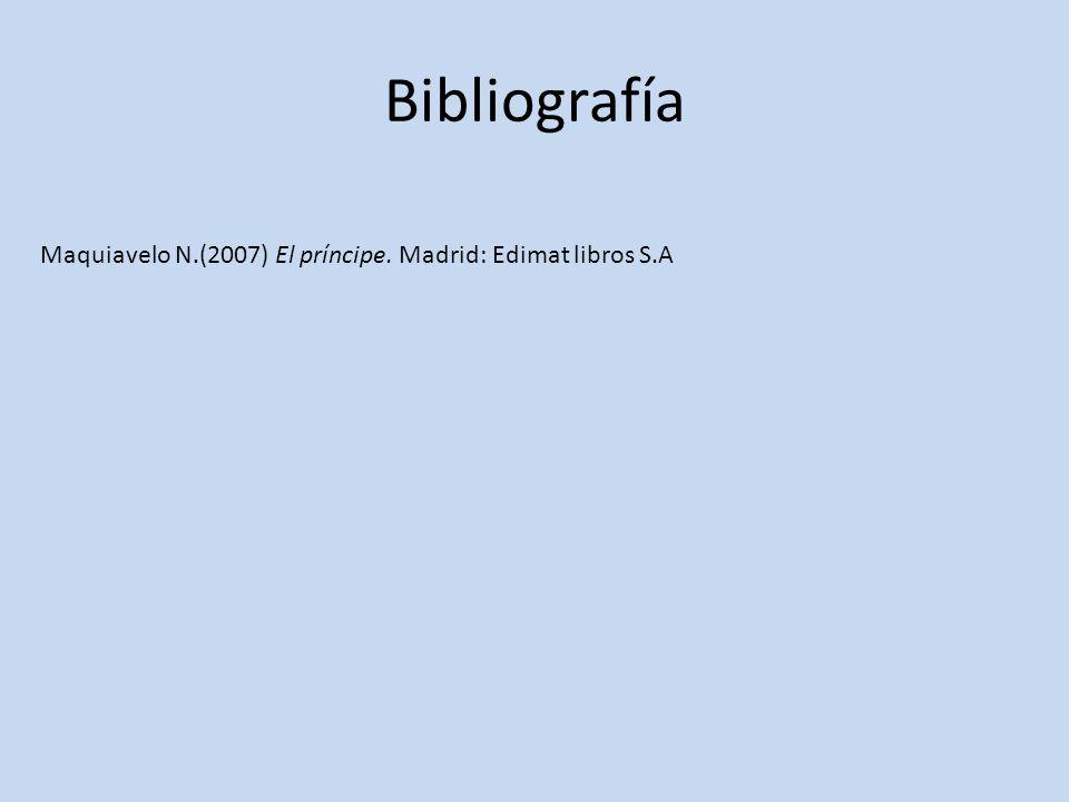 Bibliografía Maquiavelo N.(2007) El príncipe. Madrid: Edimat libros S.A