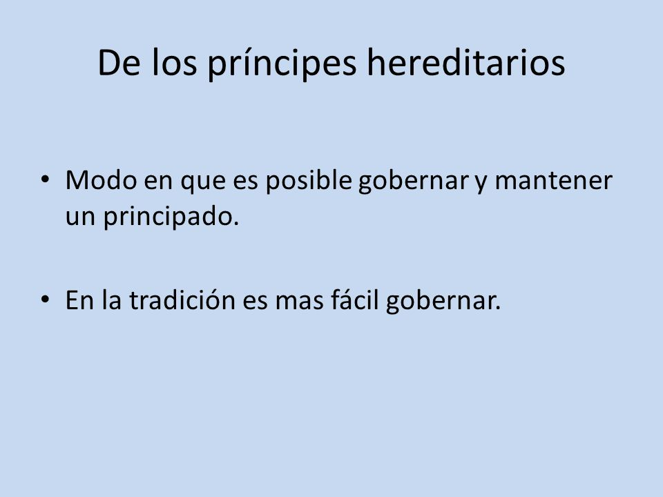 De los príncipes hereditarios