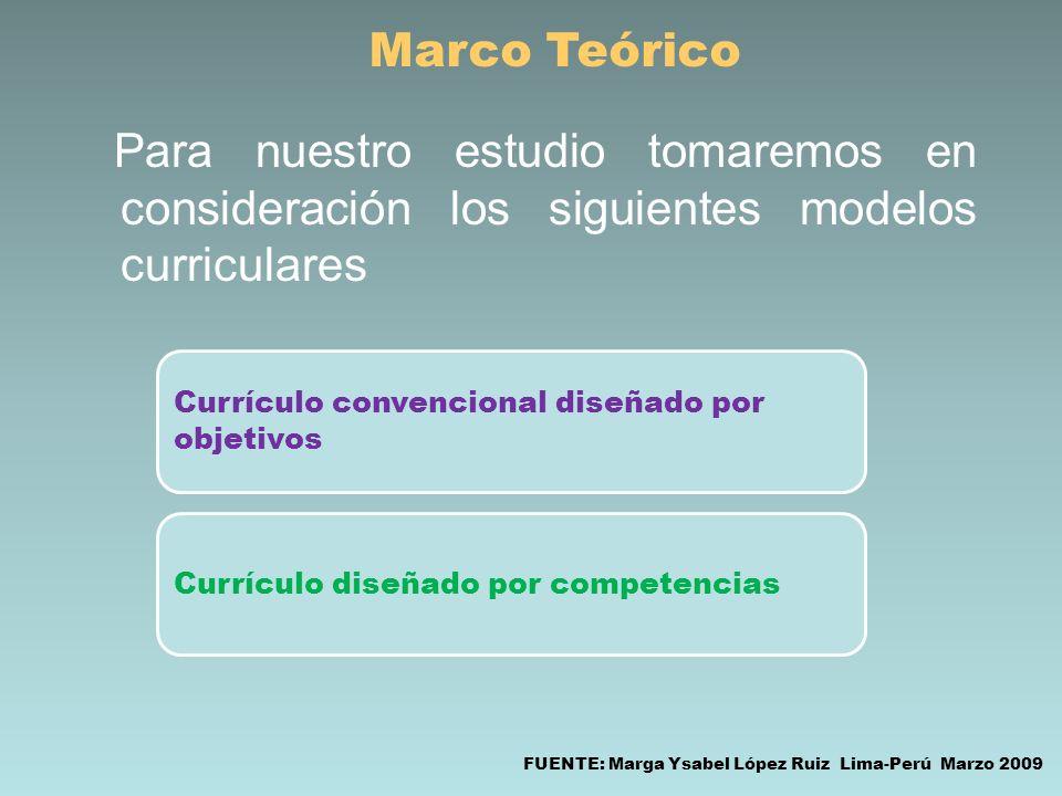 Marco Teórico Para nuestro estudio tomaremos en consideración los siguientes modelos curriculares. Currículo convencional diseñado por objetivos.