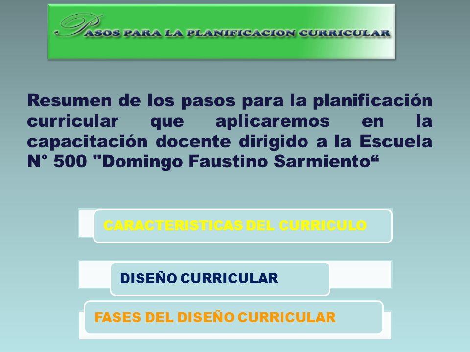 Resumen de los pasos para la planificación curricular que aplicaremos en la capacitación docente dirigido a la Escuela N° 500 Domingo Faustino Sarmiento