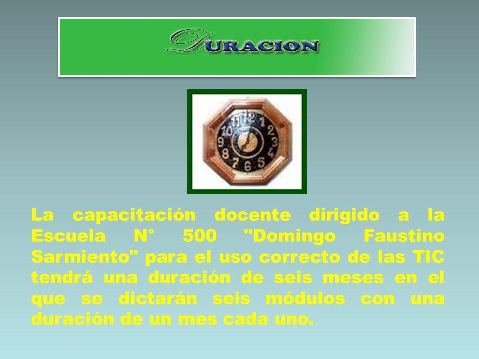 La capacitación docente dirigido a la Escuela N° 500 Domingo Faustino Sarmiento para el uso correcto de las TIC tendrá una duración de seis meses en el que se dictarán seis módulos con una duración de un mes cada uno.