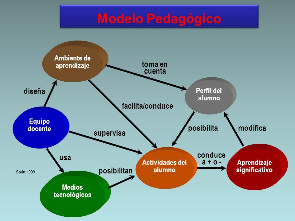 Modelo Pedagógico toma en cuenta diseña facilita/conduce posibilita