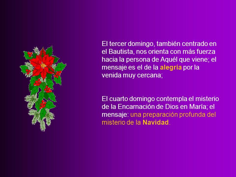 El tercer domingo, también centrado en el Bautista, nos orienta con más fuerza hacia la persona de Aquél que viene; el mensaje es el de la alegría por la venida muy cercana;