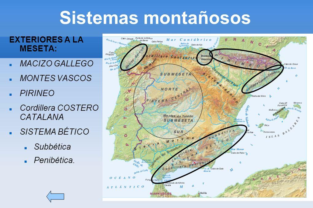 Sistemas montañosos EXTERIORES A LA MESETA: MACIZO GALLEGO