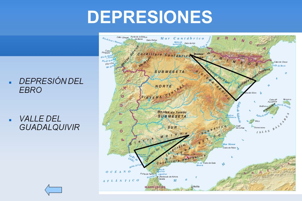 DEPRESIONES DEPRESIÓN DEL EBRO VALLE DEL GUADALQUIVIR
