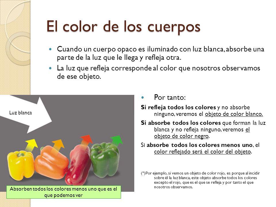 Absorben todos los colores menos uno que es el que podemos ver