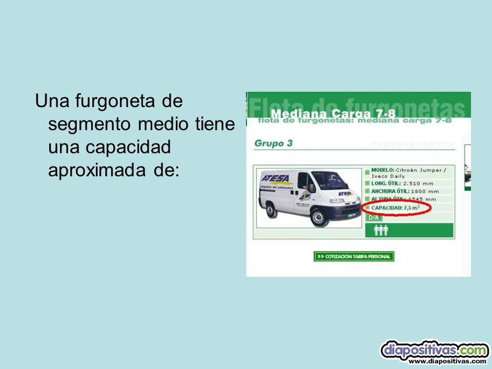 Una furgoneta de segmento medio tiene una capacidad aproximada de: