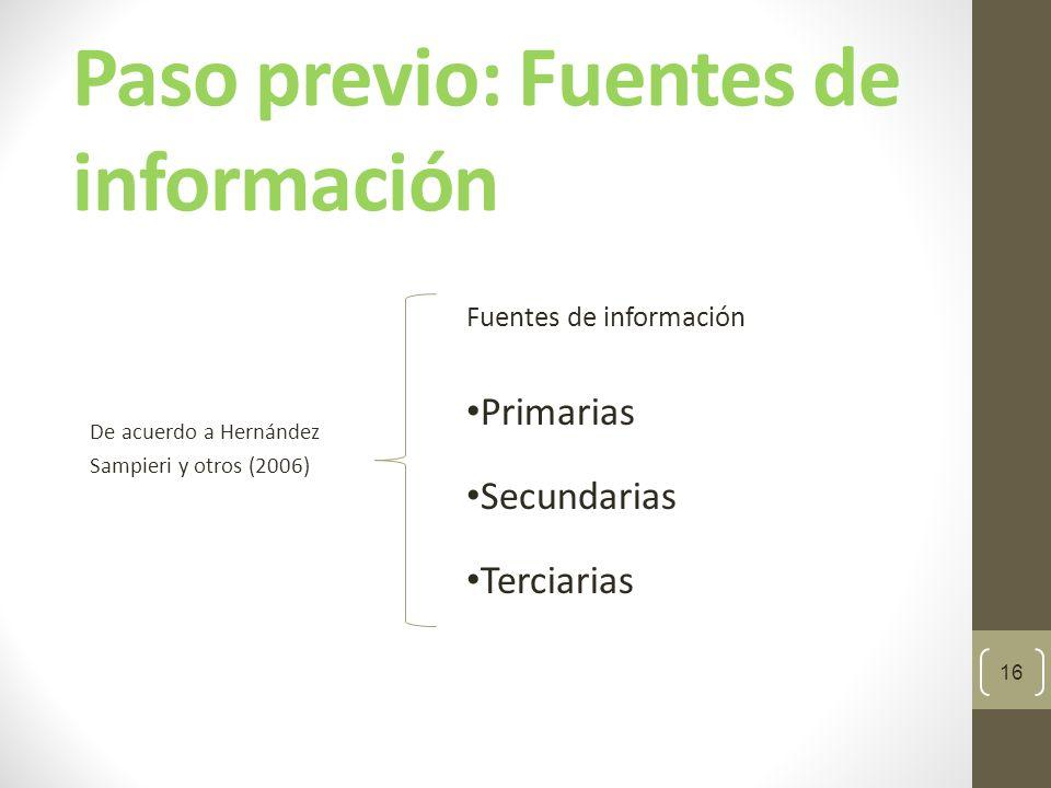 Paso previo: Fuentes de información