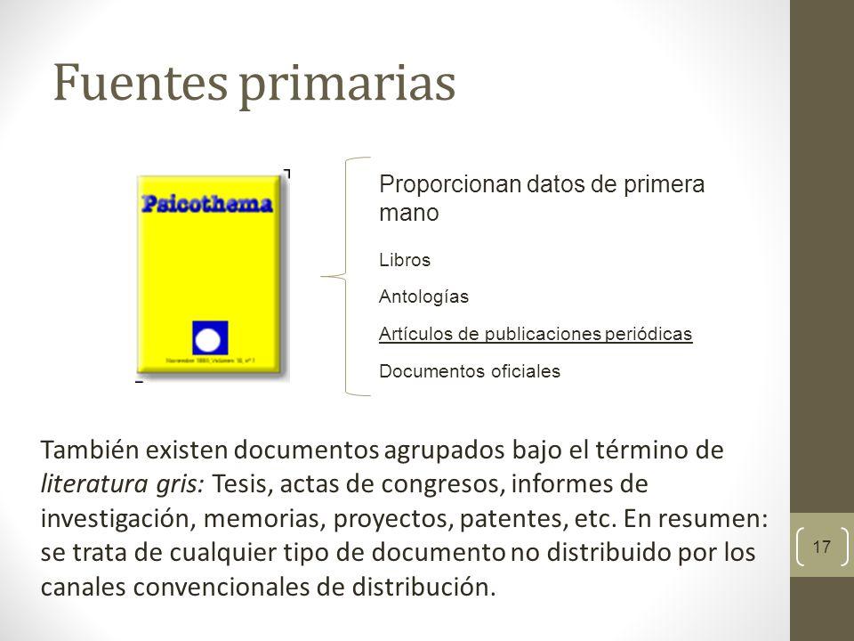 Fuentes primarias Proporcionan datos de primera mano. Libros. Antologías. Artículos de publicaciones periódicas.