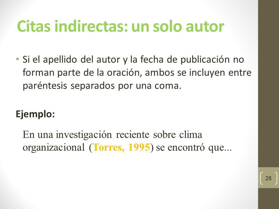 Citas indirectas: un solo autor