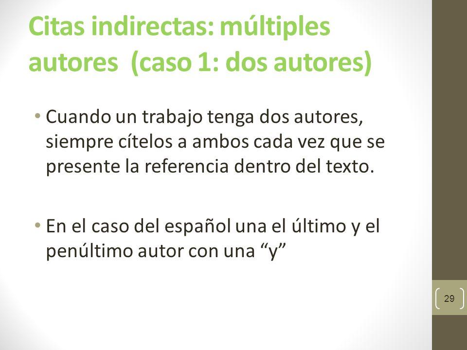 Citas indirectas: múltiples autores (caso 1: dos autores)