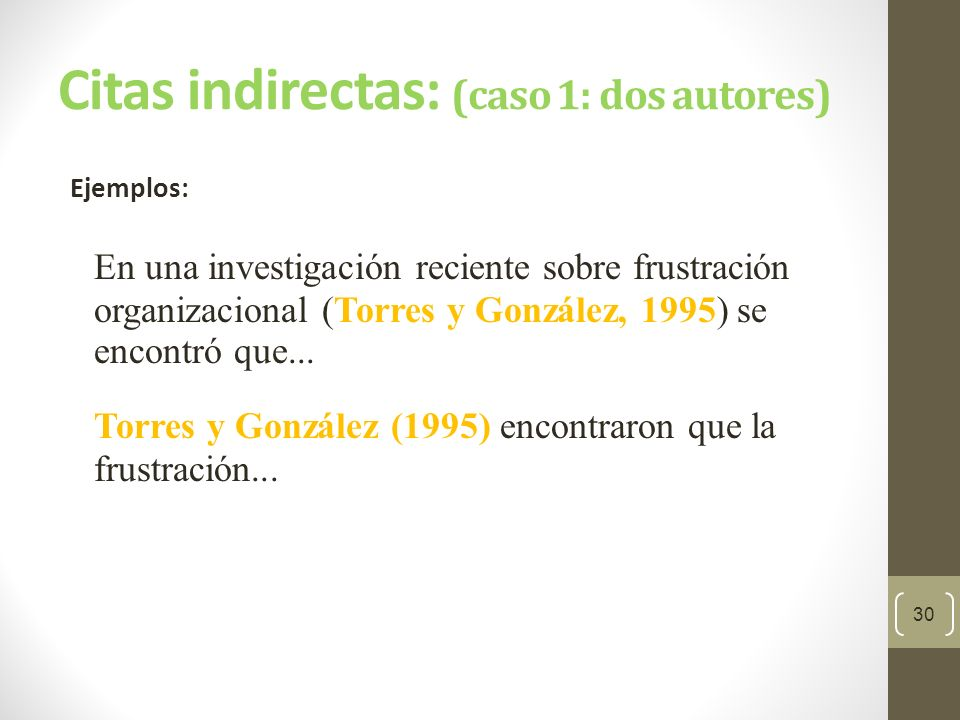 Citas indirectas: (caso 1: dos autores)