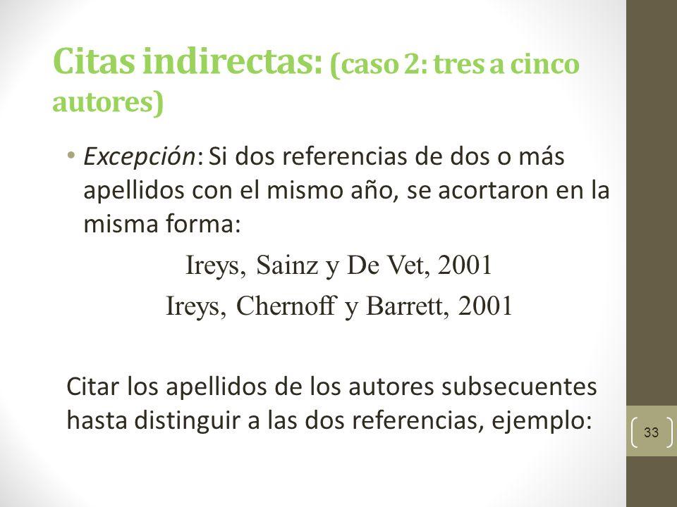 Citas indirectas: (caso 2: tres a cinco autores)