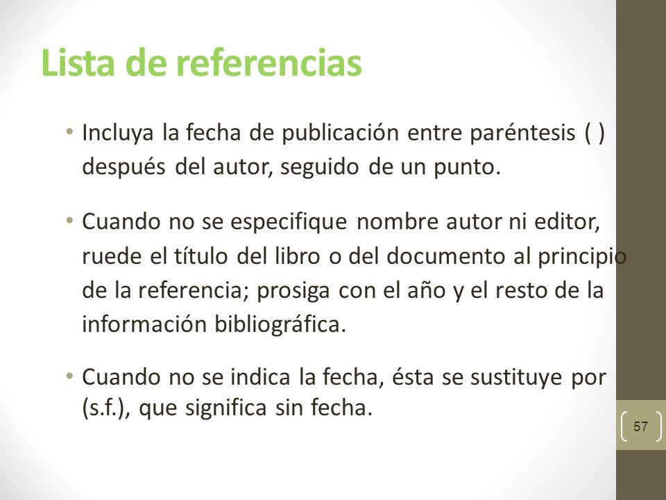 Lista de referencias Incluya la fecha de publicación entre paréntesis ( ) después del autor, seguido de un punto.