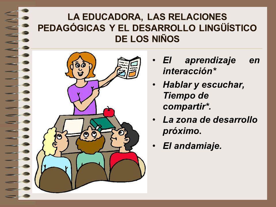 LA EDUCADORA, LAS RELACIONES PEDAGÓGICAS Y EL DESARROLLO LINGÜÍSTICO DE LOS NIÑOS