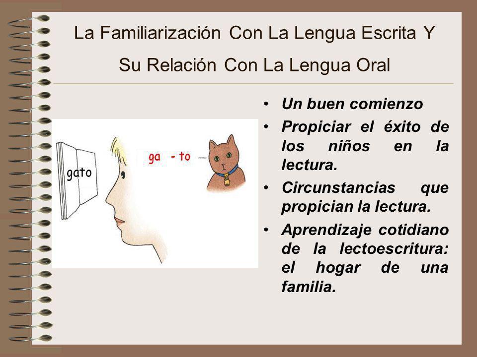 La Familiarización Con La Lengua Escrita Y Su Relación Con La Lengua Oral