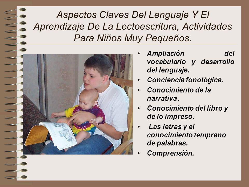 Aspectos Claves Del Lenguaje Y El Aprendizaje De La Lectoescritura, Actividades Para Niños Muy Pequeños.