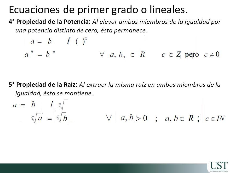 Ecuaciones de primer grado o lineales.
