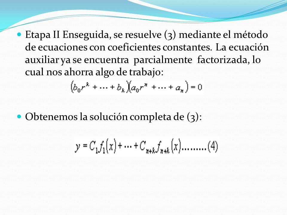 Etapa II Enseguida, se resuelve (3) mediante el método de ecuaciones con coeficientes constantes. La ecuación auxiliar ya se encuentra parcialmente factorizada, lo cual nos ahorra algo de trabajo: