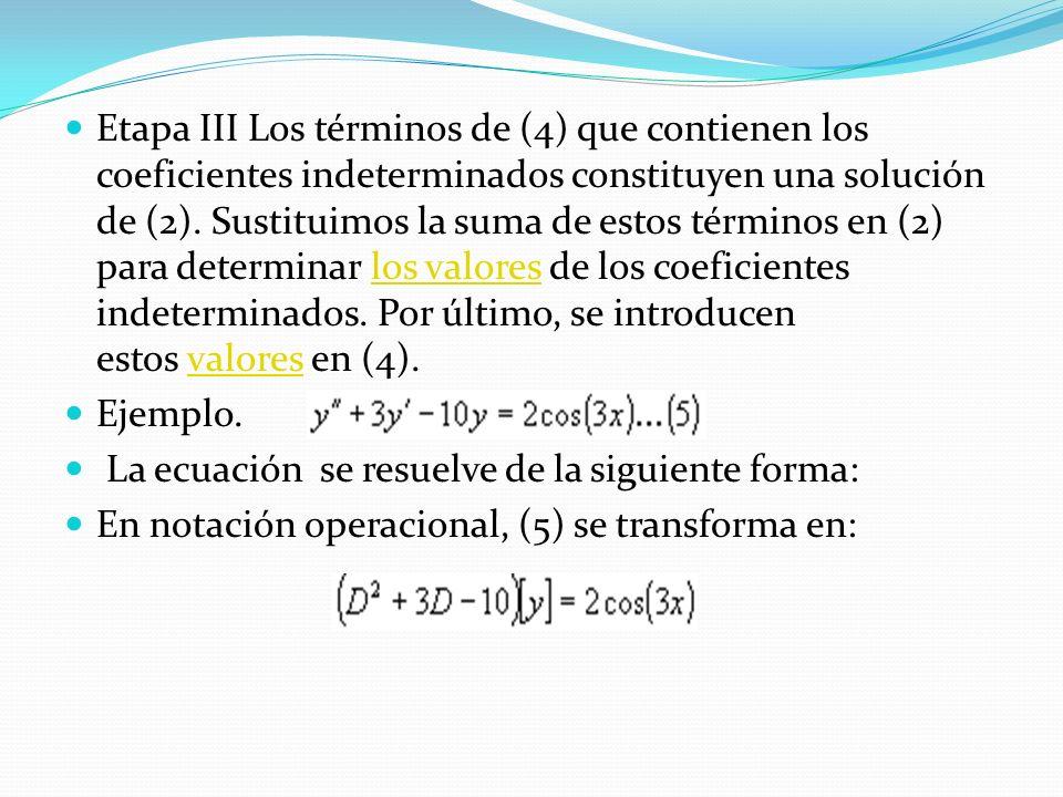 Etapa III Los términos de (4) que contienen los coeficientes indeterminados constituyen una solución de (2). Sustituimos la suma de estos términos en (2) para determinar los valores de los coeficientes indeterminados. Por último, se introducen estos valores en (4).