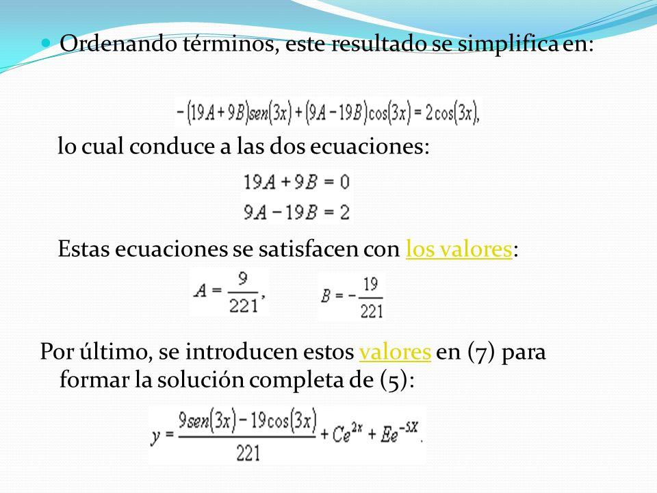 Ordenando términos, este resultado se simplifica en: