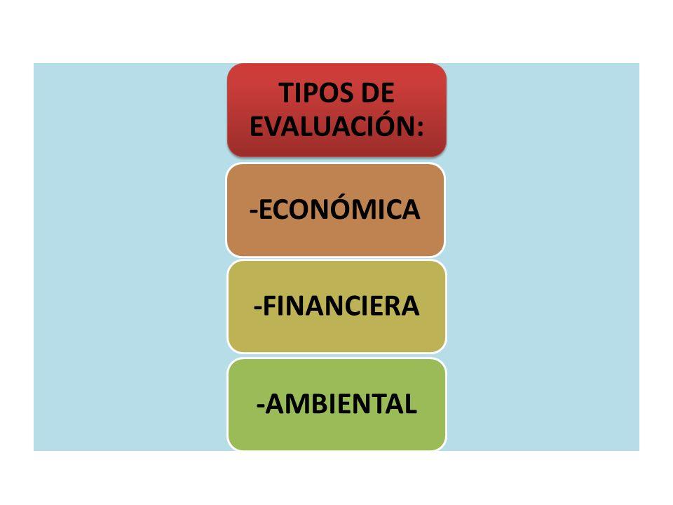 TIPOS DE EVALUACIÓN: -ECONÓMICA -FINANCIERA -AMBIENTAL