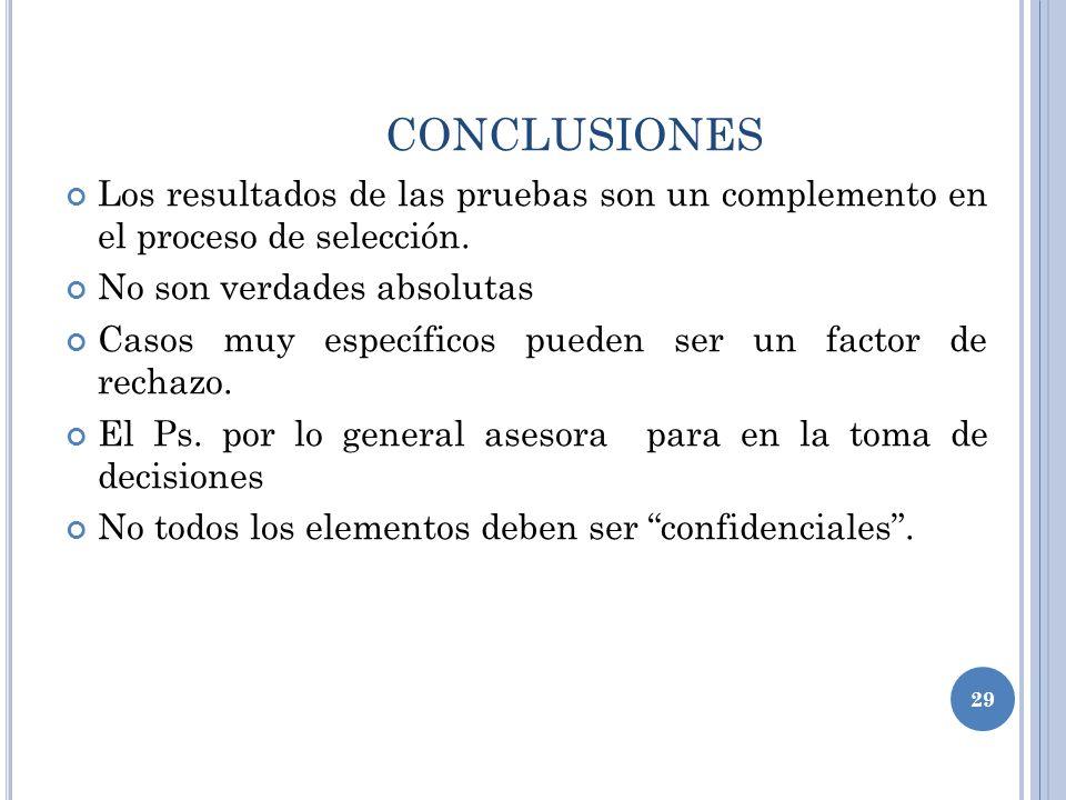 CONCLUSIONES Los resultados de las pruebas son un complemento en el proceso de selección. No son verdades absolutas.