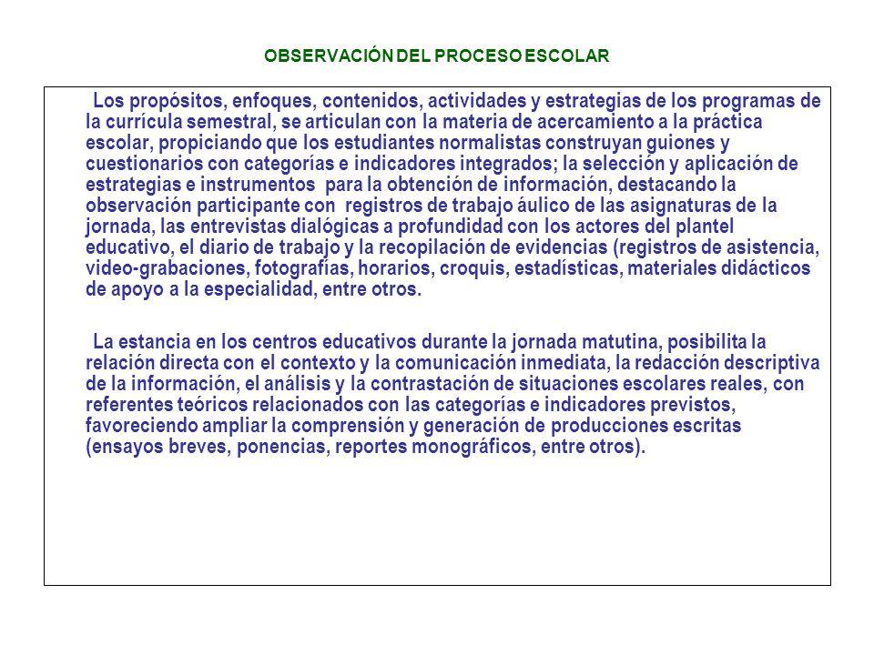 OBSERVACIÓN DEL PROCESO ESCOLAR