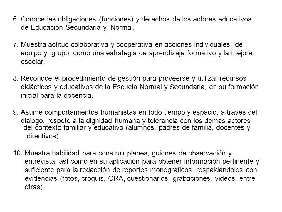 6. Conoce las obligaciones (funciones) y derechos de los actores educativos