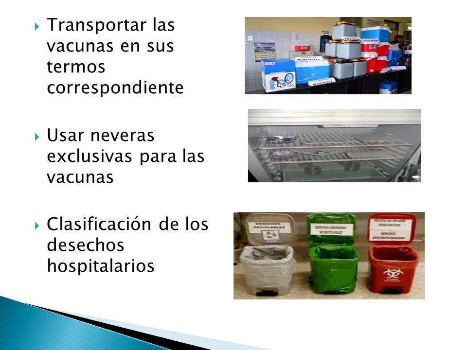 Transportar las vacunas en sus termos correspondiente