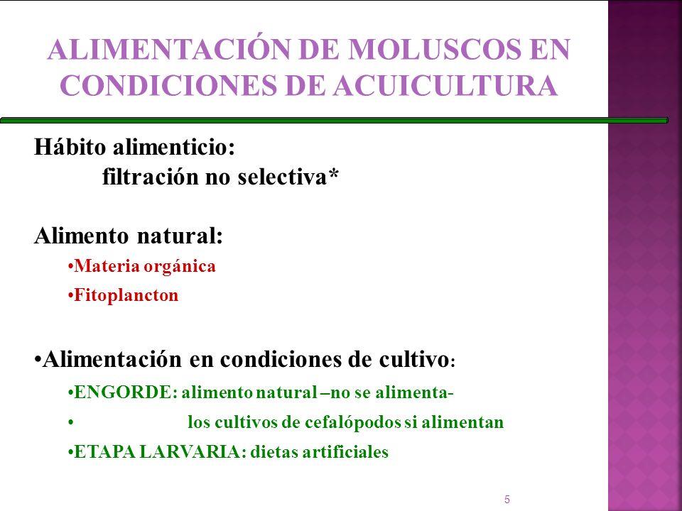 ALIMENTACIÓN DE MOLUSCOS EN CONDICIONES DE ACUICULTURA