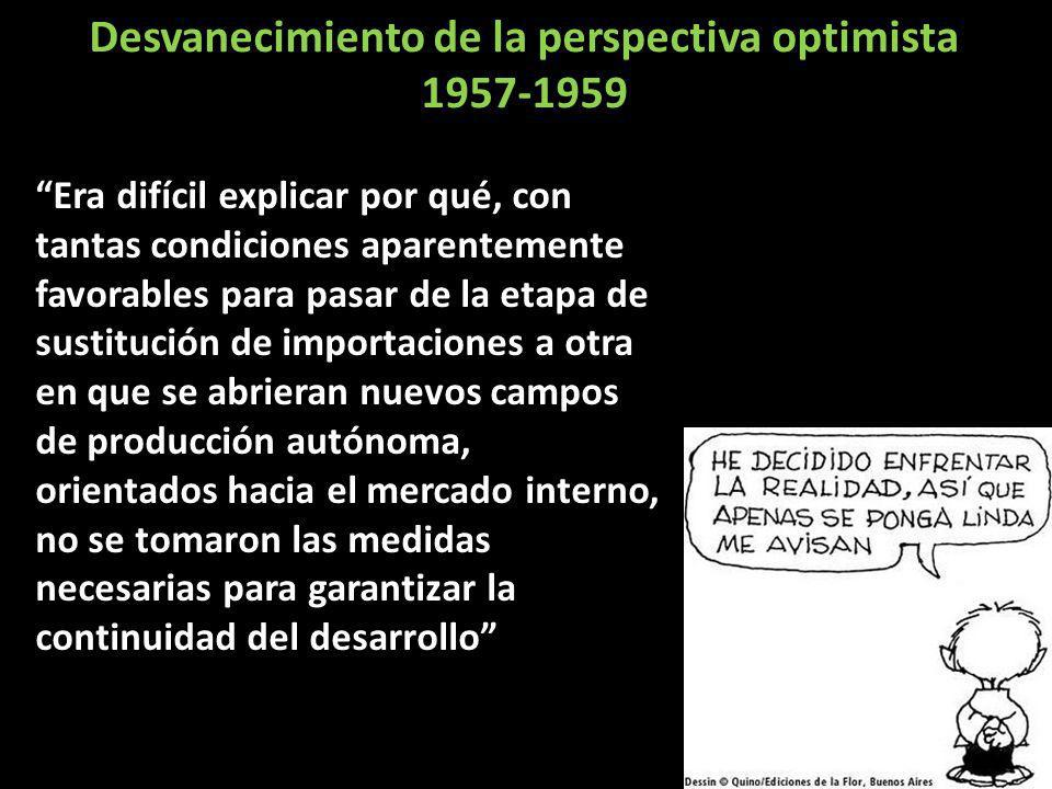 Desvanecimiento de la perspectiva optimista 1957-1959