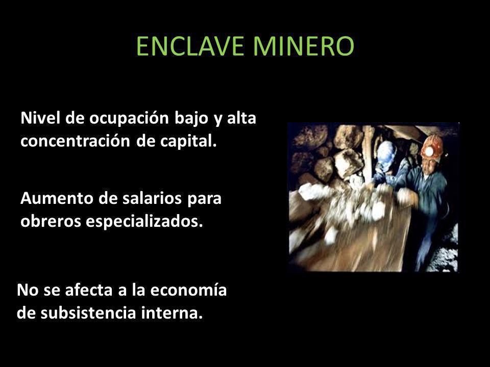 ENCLAVE MINERO Nivel de ocupación bajo y alta concentración de capital. Aumento de salarios para obreros especializados.