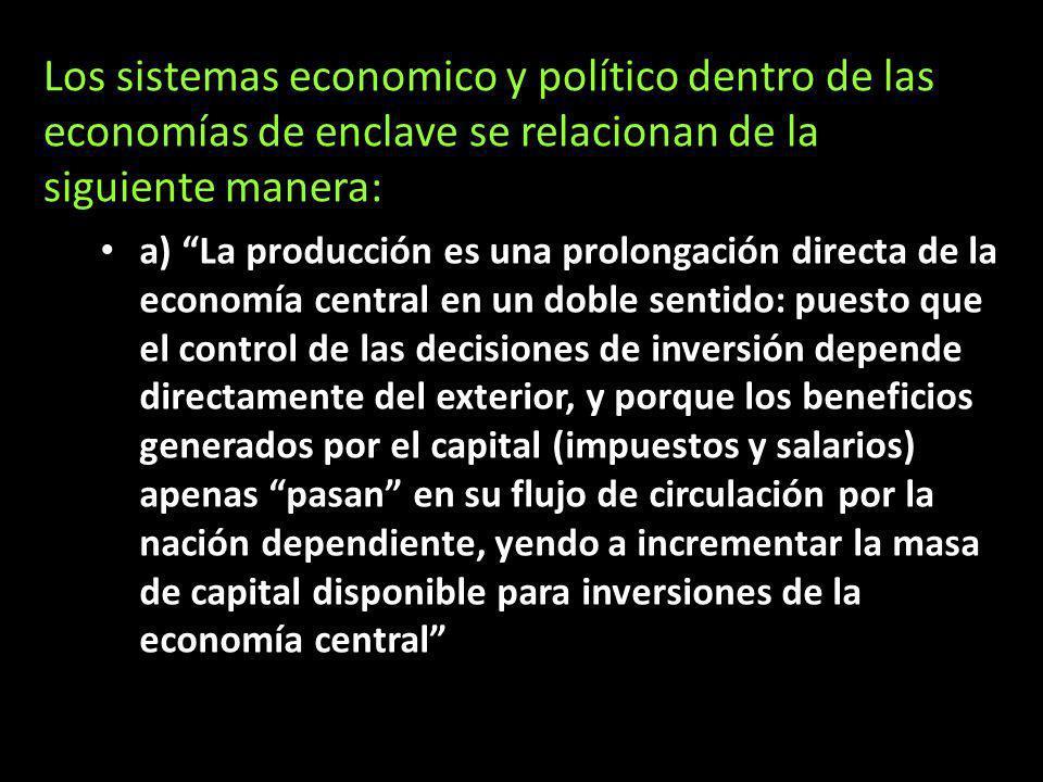 Los sistemas economico y político dentro de las economías de enclave se relacionan de la siguiente manera:
