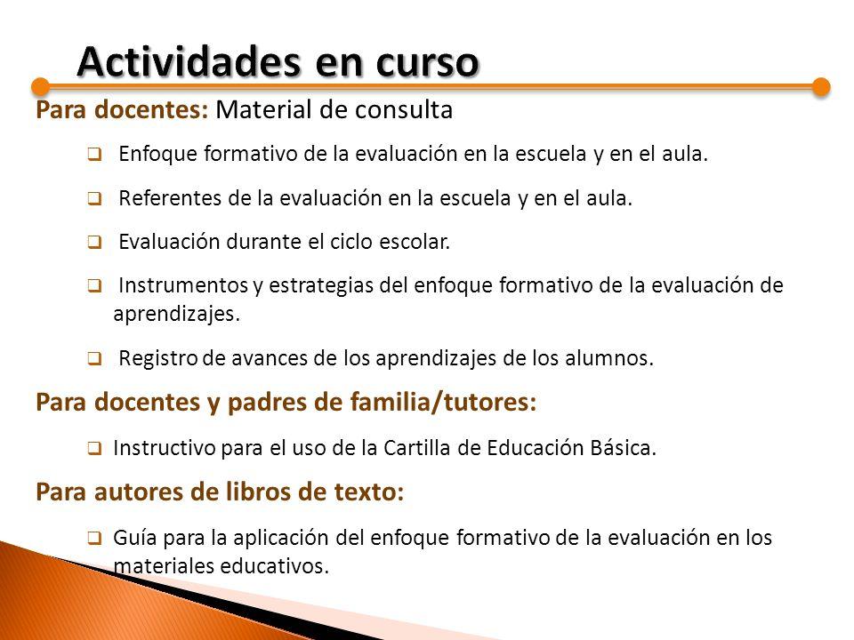 Actividades en curso Para docentes: Material de consulta