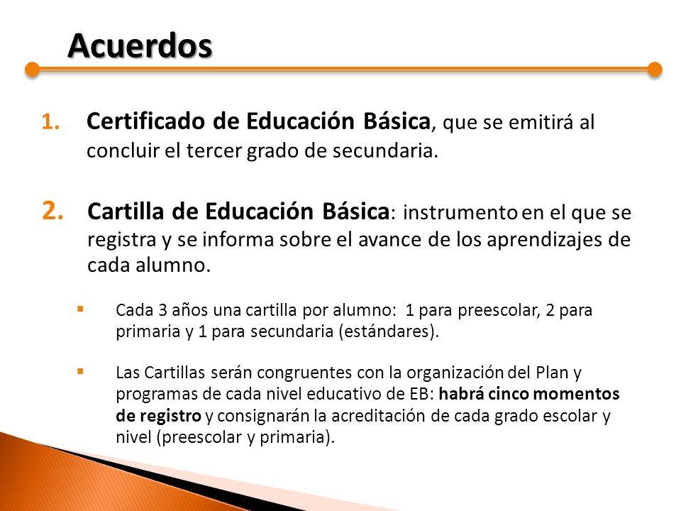 Acuerdos Certificado de Educación Básica, que se emitirá al concluir el tercer grado de secundaria.