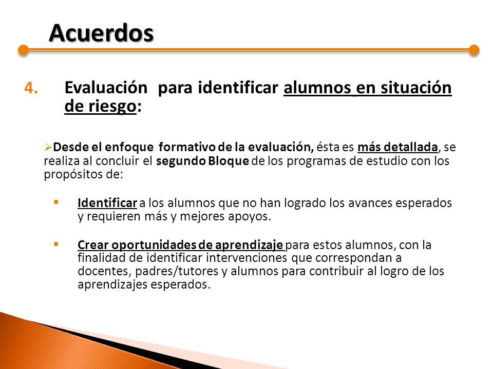Acuerdos Evaluación para identificar alumnos en situación de riesgo:
