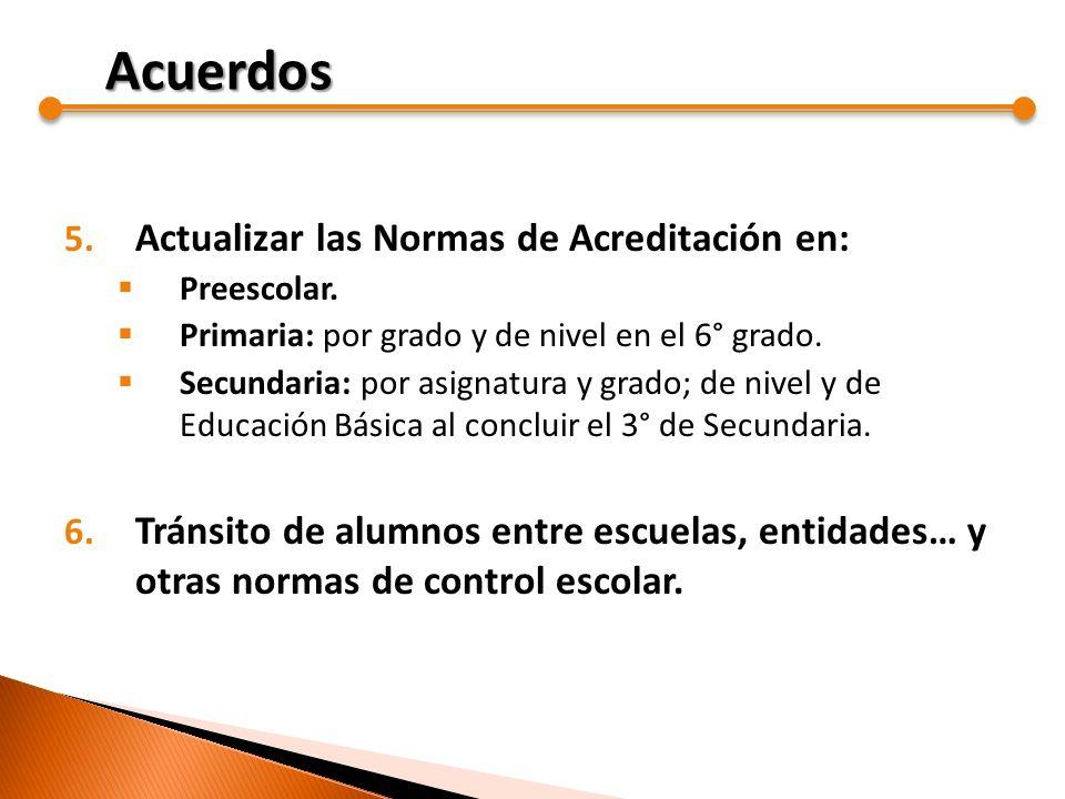Acuerdos Actualizar las Normas de Acreditación en: