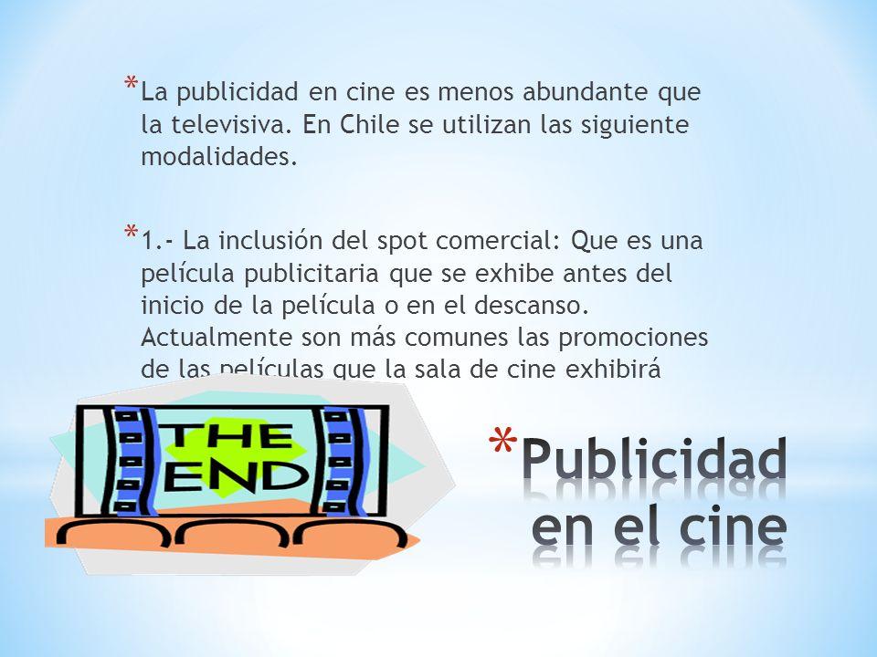 La publicidad en cine es menos abundante que la televisiva