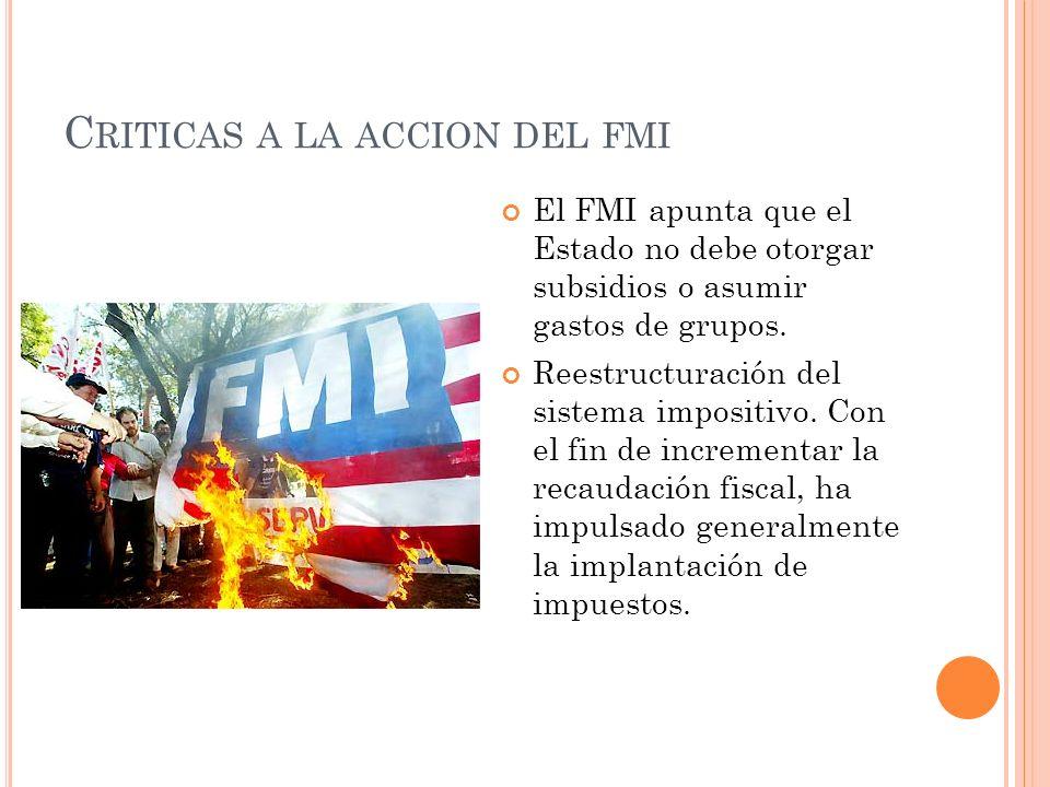 Criticas a la accion del fmi