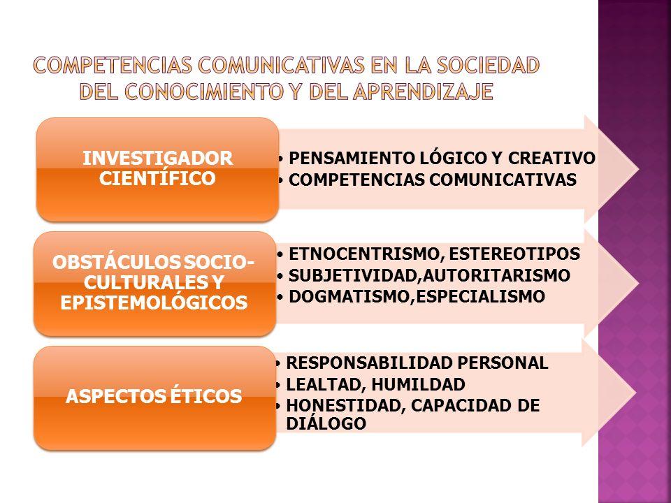 INVESTIGADOR CIENTÍFICO OBSTÁCULOS SOCIO-CULTURALES Y EPISTEMOLÓGICOS
