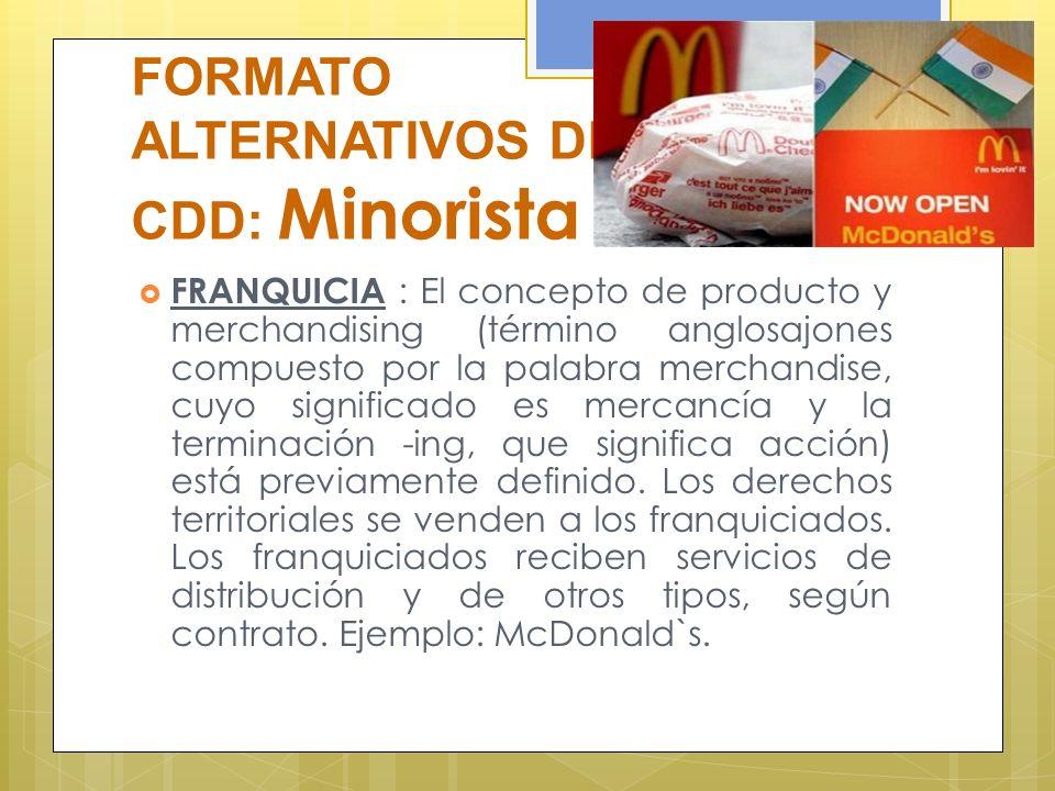 FORMATO ALTERNATIVOS DE CDD: Minorista